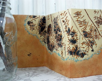 HOLD Embroidered Leaf Print Mixed Media Artists Book - Transpiration