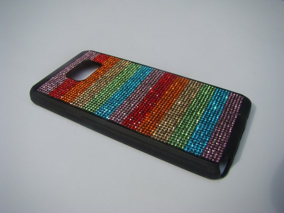 """Galaxy Note 5 Rainbow """" PRIDE New"""" Rhinestone Crystals on Black Rubber Case. Velvet/Silk Pouch Bag Included, Genuine Rangsee Crystal Cases"""