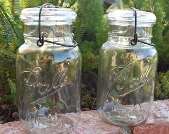Ball Ideal Jar - Quart Size - Ball Mason Jar - Clear Glass Mason Jar with Glass Lid (1933- 1962 Logo) - Set of 2