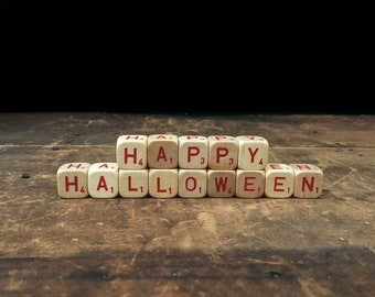 Happy Halloween Sign, Vintage Letter Blocks, Scrabble Blocks, Rustic Decor, Scrabble Cubes, Letter Tiles, Holiday Decor