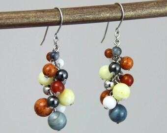 Nautical Stone Cluster - Colorful Rust Orange Yellow White Denim Blue Silver Stone Beaded Earrings - Preppy Ocean Sea Clusters