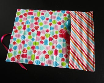 Lunchbox placemat with utensils pocket in gemstone and stripes cotton fabric, rollable placemat, for work, for school
