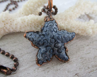 Blue Fossil Coral Starfish Necklace, Electroformed Copper, Boho Necklace, Beach Style Pendant