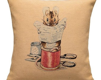 jacquard woven belgian tapestry cushion pillow cover Tale of The Tailor of Gloucester by Beatrix Potter