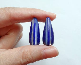 Mosaic Lapis Lazuli White Mother of Pearl MOP Vertical Striped Half Top Drilled Teardrops 10x25 mm One Pair G6798