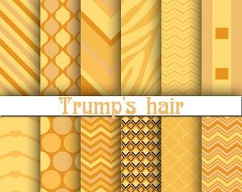 Trump digital paper, Trump hair digital paper, Trump scrapbook paper, Trump background, Trump hair
