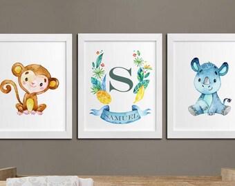 Nursery safari personalized printable art set, jungle, monkey, monogram nursery wall art, rhino, kids room art, wall decor download