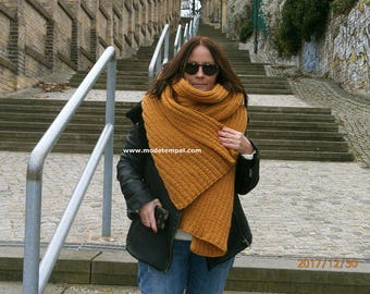Scarf alpaca wool  hand knitted