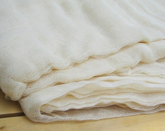 15 yards x 0.90 yard Ivory color - ecru  UNBLEACHED natural Gauze/ Cheesecloth / Muslin FABRIC