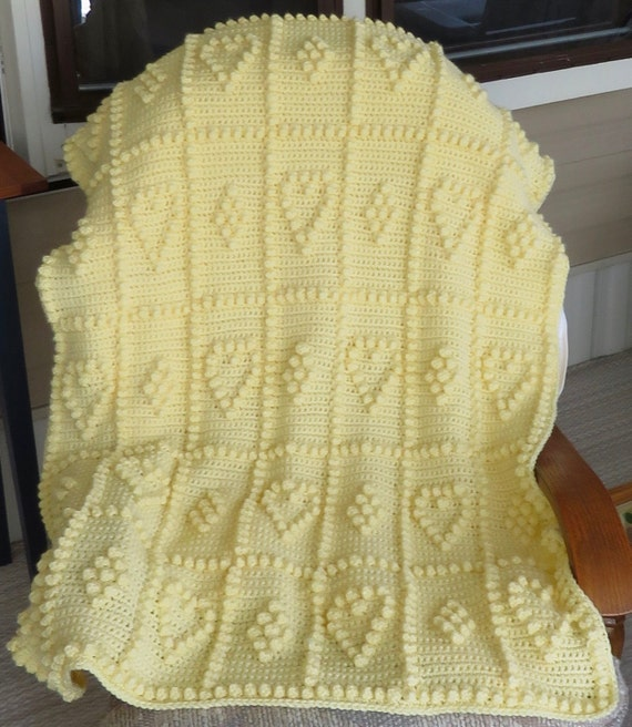Hearts and Bobbles Crochet Baby Blanket Pattern - Baby Blanket Pattern