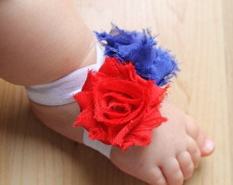 Baby Barefoot Sandals...Fourth of July...Toddler Sandals... Newborn Sandals