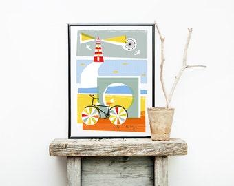 A Dip In The Briny Print, Nautical Print, Seaside Print, Coastal Print