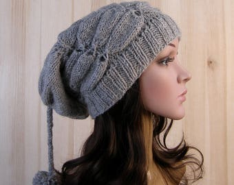 Gray Womens Winter Slouchy Beanie Hat Gray Womens Winter Hand Knit Hat wool knit hat pom pom hats for womens