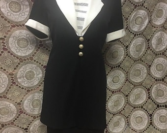 Vintage Dress 1980s Dress Danny And Nicole Dress Size 6 Petite Military Style Metal Buttons Padded Shoulders Black and White Retro office