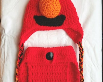 Elmo hat and diaper cover set