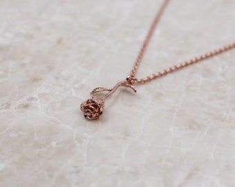 Handmade rose gold rose stem necklace