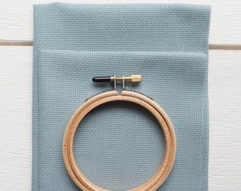 Cross Stitch Fabric - 16 count Aida Cloth | 100% Cotton Cross Stitch Embroidery Aida Fabric - MISTY BLUE