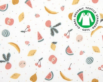 Summer Fruit, Certified Organic Cotton 100% fabric , by Yard