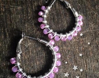 """Wire Wrapped """"Full Moon"""" Hoop Earrings, pink, purple earring hoops, handcrafted jewelry, beautiful jewelry"""