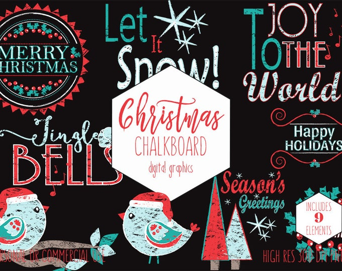 CHRISTMAS CLIPART for Commercial Use Holiday Clip Art Chalkboard Word Art Red Aqua Teal Trees Bird Quotes Digital Graphics Instant Download