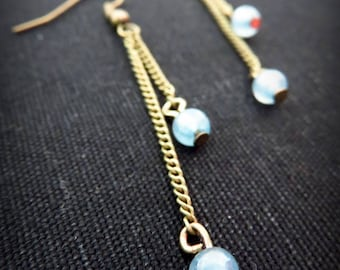 Brass and blue gray Pearl Earrings