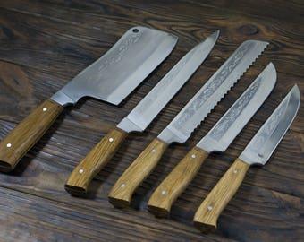 Professional Kitchen Knife Set,  Engraved Chef Knife Set, Kitchen Knife Set, Butcher Knife, Santoku, Chef Gift, Kochmesser, Cleaver, 5pcs