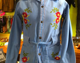 70's Denim with Floral Embroidery