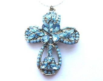 INFINITY Blue CROSS, Vintage Rhinestone & Seed Beads Cross, Blue Beaded Faux Gemstone Silver Cross, Blue and Silver Cross with Neck Chain