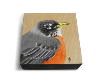 Robin Redbreast realistic painting - spring songbird - wood robin painting - backyard bird - songbird art block painting - miniature art