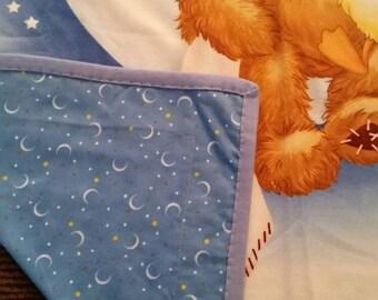 Handmade, all flannel,baby boy, duck and bear print
