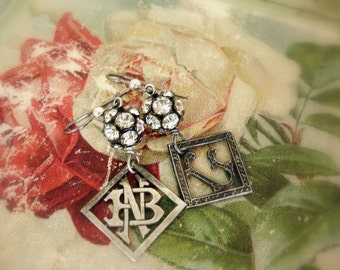 initially one of a kind vintage assemblage SINGLE EARRING!!!  your choice antique fRench monograms G or NB
