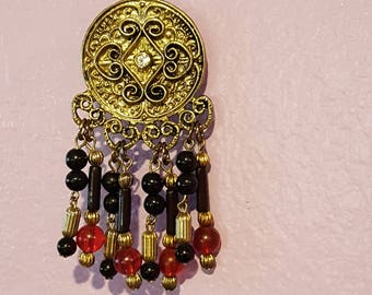 Re-Styled Black and Red Doorknob Charm