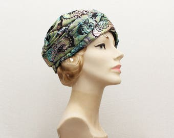 60s Metallic Turban Hat - Vintage 1960s Union Label Wrap Style Hat