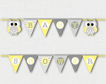 Owl Baby Shower Decorations, Owl Baby Shower Banner, Owl Decor, Baby Shower Banner, Baby Shower Decorations, Owl Baby Shower Gray and Yellow