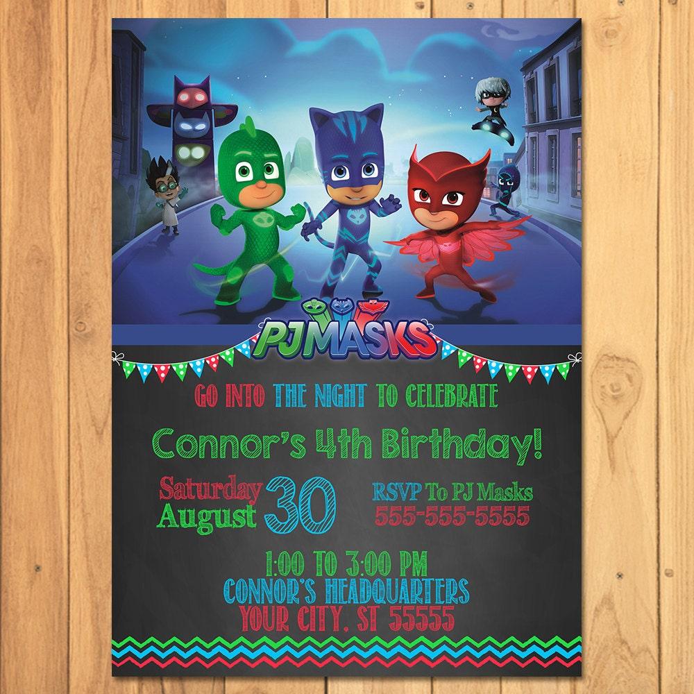 Pj Masks Invitation Chalkboard Pj Masks Birthday Pj Masks - Pj masks invitation template free