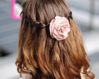 Hair Jewelry, Flower Hair Tie, Felt Hair Tie, Wedding Hair Jewelry, Ponytail Holder, Romantic Gift, Shabby Chic, Blush Flower Accessories