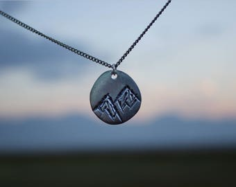 Mountain Range Hand Stamped Necklace