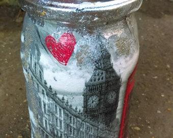 London Union Jack money jar,stash jar,holiday found jar,Cookie jar,keepsake jar,Jewelry jar,Coffee jar,Travel savings jar,birthday gift