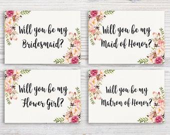 Boho Floral Bridesmaid Invitation Maid of Honor Invite Matron of Honor Invite Bohemian Wedding Party Invitation Rustic Wedding Party