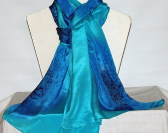 Hand dyed Navy, Royal Blue and Turquoise Long Silk Scarf/Shawl