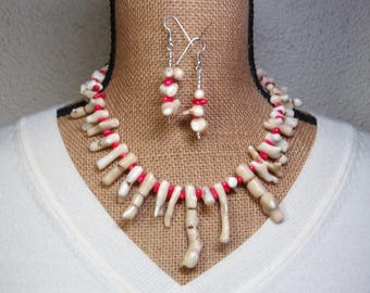 Natural AAA Grade Quality White Coral,.925 Silver Necklace and Earrings