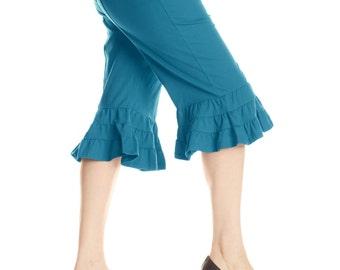 Goddess Bloomer M133 (capri, petal pusher, Steampunk, belly dance, cropped pant, ruffles, clam digger, dance pant, festival, plus size)