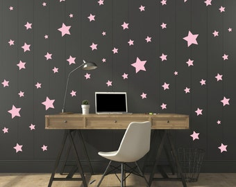 FREE SHIPPING Wall Decal Different Size of 150 Stars Color Light Pink. Home Decor.Nursery Wall Sticker. Vinyl Wall Decal