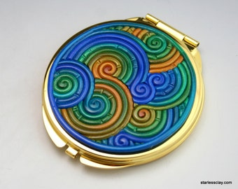Compact Pocket Mirror in Blue, Green, Gold Fimo Clay Filigree