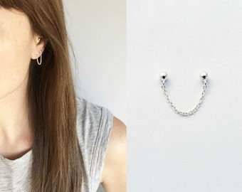 Multi piercing chained studs sterling silver multiple piercing