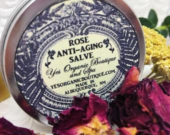 Rose Anti-Aging Salve - with Frankincense, Calendula, Chamomile, Arnica, Yarrow - Regenerates Maturing Skin