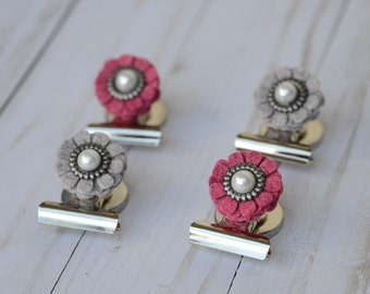 Floral Magnets ~ Floral Magnetic Clips ~ Felt Flower Magnets ~ Floral Paper Clips ~ Flower Magnets