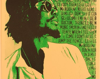 Peter Tosh Screen Print Poster. Limited Edition. Signed and Numbered. 8 X 10.