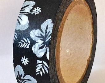 "SALE Washi Tape ""Hawaiian Hibiscus"" White on Black 15mm x 10 Meters"