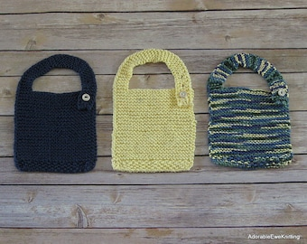 Set of 3 Knitted Baby Bibs